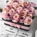 Vintage hangulatú selyemvirág doboz, Anyák napja, Dekoráció, Otthon, lakberendezés, Esküvő, Vintage hangulatú 25 szálas selyemrózsa doboz. Méltó ajándék születésnapra vagy évfordulóra. Egy vin..., Meska