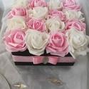 Ajándékozz rózsadobozt! (16 szál), Dekoráció, Otthon, lakberendezés, Anyák napja, Asztaldísz, Bájos rózsadoboz készült fehér és rózsaszín habrózsákból. Ajándékozd meg vele szeretteidet, barátaid..., Meska