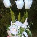 Tulipános nyuszis húsvéti tavaszi asztaldísz dekoráció - bézs, Otthon & Lakás, Asztaldísz, Dekoráció, Virágkötés, Jön a tavasz, húsvét ... Dobd fel a lakást ezzel a dísszel a tavaszi hangulatért!  Tulipános-nyuszi..., Meska