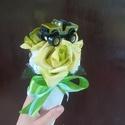 Autós habrózsa csokor, Otthon & Lakás, Dekoráció, Csokor & Virágdísz, Virágkötés, Örök habrózsa csokor ballagásra, szülinapra fiúnak. Játékautóval díszítve. (Az autó színe és formáj..., Meska
