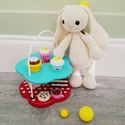 Crochet Bunny, Baba-mama-gyerek, Játék, Játékfigura, Kézzel horgolt akril fonalból készult nyuszi. Magassaga 33 cm a fejtetotol a talpáig + fulek. To..., Meska