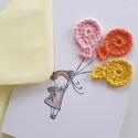 Lufis kislány/ kisfiú  születésnapi üdvözlő lap / Boldog születésnapot /, Otthon & Lakás, Képeslap & Levélpapír, Papír írószer, Horgolás, Papírművészet, Lufis kislány vagy kisfiú üdvözlőlap / születésnapra,horgolt dekorációval. Borítékkal celofán csoma..., Meska