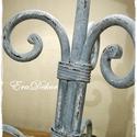 Vintage lámpa -AZONNAL ELVIHETŐ, Kovácsoltvas asztali lámpa. Antikolt kék színr...