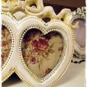 Szív  képkeret-2 szív, Vintage, romantikus, asztali képkeret Vintage feh...