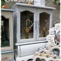Vintage  ékszertartó szekrény, Régi, antik, tükrös szekrény , vintage-fehér ...