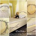 Rusztikusan romantikus ágy, Baba-mama-gyerek, Bútor, Ágy, Gyerekszoba, Festett tárgyak, Provence-i hangulatok a hálószobában. Antikolt fehér, levendula mintával festett, tömör fenyő ágy. ..., Meska