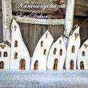 Karácsonyi templomok-AZONNAL ELVIHETŐ, Rusztikus, vintage faházak a karácsonyfán. 6db ...