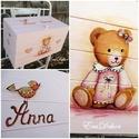 Pasztell tavasz mackóéknál , Baba-mama-gyerek, Bútor, Gyerekszoba, Gyerekbútor, Festett tárgyak, Egy kislány keresztelőjére készült ez a pasztell rózsaszín  játéktároló láda.  Névre szóló ajándék,..., Meska