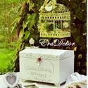 Provence-i hangulatok-Esküvőre, Vintage festett boríték gyűjtő láda romantiku...