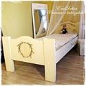 Provence-i  ágy, Baba-mama-gyerek, Bútor, Ágy, Gyerekszoba, Provence-i hangulatok a hálószobában. Antikolt fehér, levendula mintával festett, tömör fenyő ágy. Á..., Meska