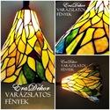 Varázslatos vintage fények, Otthon, lakberendezés, Lámpa, Állólámpa, Fali-, mennyezeti lámpa,   A zöld és a méz sárga különböző árnyalatai fénylenek ezen a Tiffany lámpabúrán. Igazi vintage dara..., Meska