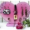 Pink vintage SZÍV ÉKSZERTARTÓ, Ékszer, óra, Otthon, lakberendezés, Ékszertartó, Tárolóeszköz, Kétoldalas, fa ékszertartó. Romantikus szív  formájú,  antikolt mályva színű ékszertartó.  Mindkét o..., Meska