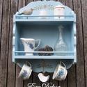 Vintage  fűszertartó polc, Konyhafelszerelés, Baba-mama-gyerek, Bútor, Fűszertartó, Vintage  romantika a konyhában. Egy régi polc átalakult, antikolt  pasztell kék festést kapott. Érde..., Meska