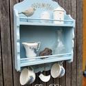 Kék vintage polc, Konyhafelszerelés, Baba-mama-gyerek, Bútor, Fűszertartó, Vintage  romantika a konyhában. Egy régi polc átalakult, antikolt kék festést kapott. Érdekes részle..., Meska