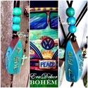 Bohém nyaklánc- Türkíz, Ékszer, óra, Medál, Nyaklánc, Türkiz színekben pompázó fa  nyaklánc a BOHÉM stílus kedvelőinek. Romantikus  nyaklánc zsinórral, és..., Meska