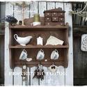 Rusztikus vintage polc, Konyhafelszerelés, Bútor, Polc, Fűszertartó, Rusztikus romantika a konyhában. A képen látható polc, pácolással és viaszolással készült . Használh..., Meska