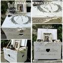 Provence-i hangulatok-Esküvőre, Dekoráció, Esküvő, Nászajándék, Esküvői dekoráció, Vintage stílusban festett,  borítékgyűjtő láda romantikus esküvőre.  Fehér, antikolt, viaszolt falád..., Meska