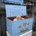 Kék macis játéktároló láda, Baba-mama-gyerek, Gyerekszoba, Gyerekbútor, Tárolóeszköz - gyerekszobába, Játéktároló láda  keresztelőre. Kislánynak vagy kisfiúnak,  névre szóló ajándék,  örök emlék és hasz..., Meska