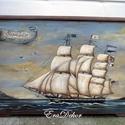 Festett hajósláda, Bútor, Baba-mama-gyerek, Otthon, lakberendezés, Tárolóeszköz, Eredeti vitorlás hajóról készült ez az aprólékos, részletgazdag festmény, egy hajósládára. Ez a láda..., Meska