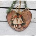 NAGY MÉRETŰ FA SZÍV, Otthon & lakás, Karácsony, Dekoráció, Ünnepi dekoráció, Karácsonyi díszeket is készítünk,  ez egy nagy méretű, rusztikus fa szív, bájos vintage karácsonyos ..., Meska