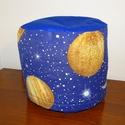 Bolygó mintás gyerek puff , Bútor, Szék, fotel, Bolygó mintás spanyol bútor szövetből készült gyerek puff sötétkék tetővel.  A külső hu..., Meska