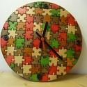 Puzzle - fali óra, Ékszer, Karóra, óra, Famegmunkálás, Minőségi óraszerkezettel.3 rétegben lakkozva. , Meska