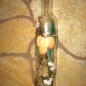 Sárgabarackos pálinkás üveg., Dekoráció, Férfiaknak, Dísz, Sör, bor, pálinka, Az ár 1db üvegre vonatkozik! Kézzel festett, prémium minőségű festékkel, kisütött, mosható pálinkás ..., Meska