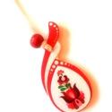 Piros fehér matyó nyaklánc 2, Ékszer, Táska, Divat & Szépség, Ékszerszett, Magyar motívumokkal, Nagyon mutatós darab. A mintát saját terv alapján készítettem. A medált külön rátéttel láttam el, am..., Meska