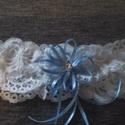 Csipkés harisnyakötő, Esküvő, Széles,csipkés harisnyakötő, kék dekorral., Meska