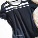 NINCS POSTAKOLTSEG - Kék-fehér csíkos póló, Táska, Divat & Szépség, Ruha, divat, Női ruha, Póló, felsőrész, Kétféle színű anyagból, formatartó pamut jerseyből készítettem ezt a rövid ujjú blúzt, keskeny pántt..., Meska
