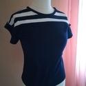 Ejtett vállú csíkos blúz- tengerész stílusú női póló,   Kétféle színű anyagból, formatartó pamut j...