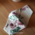 4 db, Arckendő (szájmaszk, arcmaszk) - női maszk, textilmaszk, , Fehér alapon, virágmintás pamutvászonból kés...