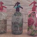 Vintage szódásüvegek - Pink Rose, Lovely Lavender, Flower Power, Ballagás, Esküvő, Otthon, lakberendezés, Nászajándék, Decoupage, transzfer és szalvétatechnika, 3 db régi retro szódásüveget dekoráltam ki szalvéta techika és akrill festés kombinációjával. A róz..., Meska