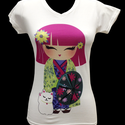 Kokeshi póló V-kivágással (S-es, fehér), Ruha, divat, cipő, Női ruha, Felsőrész, póló, Ez a vidám kis Kokeshi baba és társa, Maneki-neko integető cica küldetésének tekinti, hogy mo..., Meska