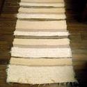 """Fehér-bézs-barna csíkos szőnyeg, Otthon, lakberendezés, Lakástextil, Falvédő, Szőnyeg, Tört fehér-natur alap, bézs-barna csíkok, vastag """"szőrös"""" szőnyeg. A bézs-barna csíkok sima, nem sző..., Meska"""