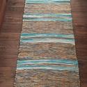 türkiz-barna tarka szőnyeg, Otthon, lakberendezés, Lakástextil, Falvédő, Szőnyeg, Hagyományosan kézi szövőszéken készült pamut-viszkóz alapanyagú szőnyeg, de akár falvédő, bútorvédő...., Meska