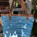 Kézi szövéssel készült táska , Kézi szövőszéken készült vászon türkizkék...