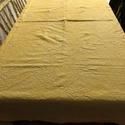 Sárga, vászon asztalterítő, Asztalterítő, vastag, gyűrt hatású, natur, pa...