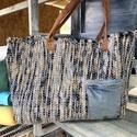Kézi szövéssel készült táska, Kézi szövőszéken készült kék mintás vászo...