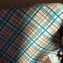 Türkiz Strandtáska, Táska, Válltáska, oldaltáska, Varrás, Türkiz-bézs kockás, vastag szövetből készült táska levehető textilbőr vállpánttal és textilbőr foga..., Meska