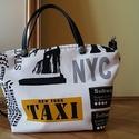 NYC Designer Táska, Táska, Válltáska, oldaltáska, Varrás, Loneta vászon- textilbőr táska pamutvászon béléssel, belső zsebbel. Cipzárral záródik. Hozzá illő h..., Meska