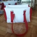 Street piros-fehér textilbőr táska, Táska, Válltáska, oldaltáska, , Meska