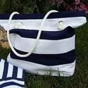 Marine strandtáska-strandlepedő kollekció, Táska, Válltáska, oldaltáska, Varrás, Strandszett - 1 db táska és 1 db strandszőnyeg választható színben: rózsaszín, szürke, kék, piros c..., Meska