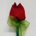 Tulipán, Dekoráció, Esküvő, Dísz, Esküvői dekoráció, Varrás, Nem elhervadó tulipán. Ceruza végére illesztett pamut, varrott tulipánfej, organza szalaggal díszit..., Meska