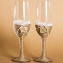 2 db Esküvői rusztikus pohár szett, Esküvő, Esküvői dekoráció, Nászajándék, Meghívó, ültetőkártya, köszönőajándék, Varrás, Papírművészet, 2 db esküvői rusztikus pohár, csipkével, kis felirattal (az ár 2 db termékre vonatkozik) - A pohara..., Meska