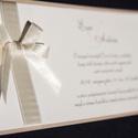 Esküvői meghívó, Esküvő, Meghívó, ültetőkártya, köszönőajándék, Papírművészet, Varrás, Ez egy nagyon szép kézzel készült meghívó. A meghívó szövegét te határozod meg. A gyártás előtt e-m..., Meska