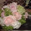Habvirágból készült vidám menyasszonyi csokor, Esküvő, Otthon, lakberendezés, Esküvői csokor, Gyöngyfűzés, Virágkötés, Habvirágokból készült csokor. Vidám színeivel tűnik ki az eddig készített csokraim közül. :) Arany ..., Meska