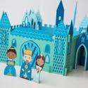 Mini kastély szett türkiz színben, Játék, Baba, babaház, Játékfigura, Báb, Papírművészet, Világoskék, királykék, tengerkék és türkiz kartonpapírból készített mini kastély figurákkal.  A kas..., Meska