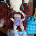 Bori baba csomag, Játék, Baba, babaház, Baba-és bábkészítés, Varrás, Bori, 40 cm magas baba. Haja akril fonalból készült, tincseit egyenként bontottam ki. Arcát és ruhá..., Meska