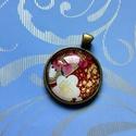 Cseresznyevirágos, antik bronz medál, Ékszer, Medál, Ékszerkészítés, Nagyon szép, japán cseresznyefavirágos medál.  Az üveglencse 25mm-es, a medál teljes mérete kb. 35 ..., Meska